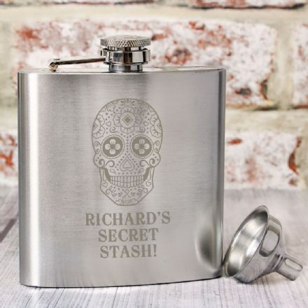 Personalised Hip Flask - Sugar Skull